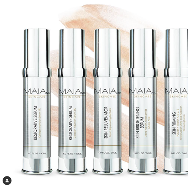 "Vials with various cosmetic preparations by ""Maia SkinCare"""