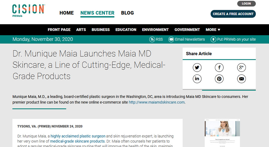 Screenshot of article - Dr. Munique Maia Launches Maia MD Skincare, a Line of Cutting-Edge, Medical-Grade Products.