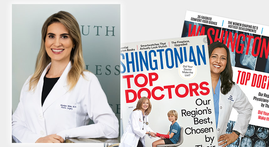 Photo of Dr. Maia in the background of two issues of Washingtonian magazine
