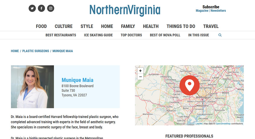 Screen of the press release on the website northernvirginiamag.com